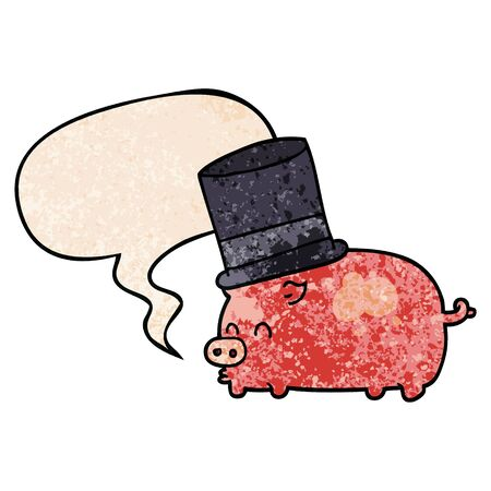 cartoon pig wearing top hat with speech bubble in retro texture style