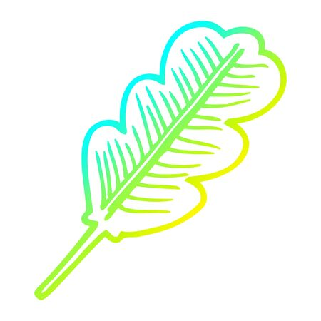 cold gradient line drawing of a cartoon fallen leaf
