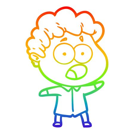 rainbow gradient line drawing of a cartoon man gasping in surprise Ilustração