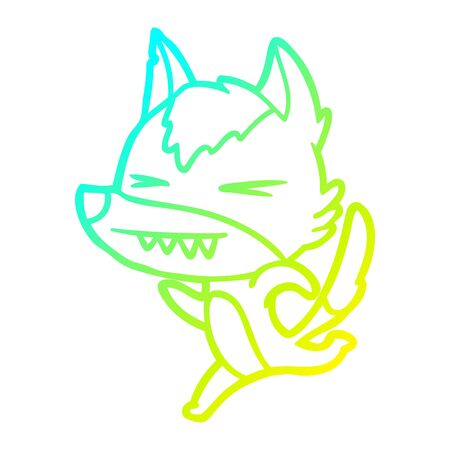 cold gradient line drawing of a angry wolf running