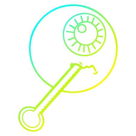 cold gradient line drawing of a cartoon ill eyeball Banco de Imagens - 128923562