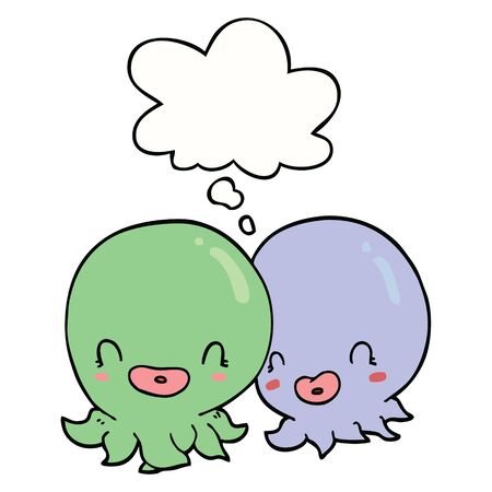 two cartoon octopi  with thought bubble