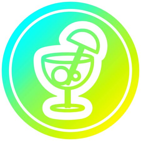 cocktail with umbrella circular icon with cool gradient finish Illustration