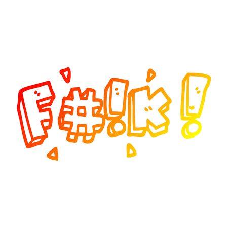 dessin au trait dégradé chaud d'un gros mot de dessin animé Vecteurs