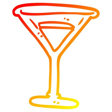 warm gradient line drawing of a cartoon martini