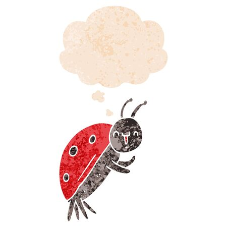 cute cartoon ladybug with thought bubble in grunge distressed retro textured style