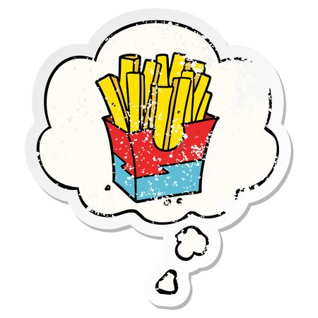 cartoon fries with thought bubble as a distressed worn sticker Banco de Imagens - 128920275