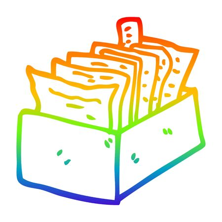 rainbow gradient line drawing of a cartoon box of files Stock fotó - 128920277