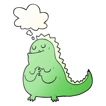 cartoon dinosaur with thought bubble in smooth gradient style