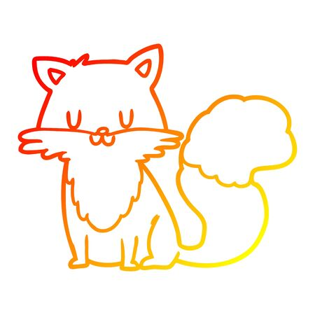 warm gradient line drawing of a cartoon fox Stock fotó - 128920391