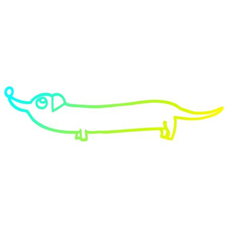 cold gradient line drawing of a cartoon dachshund Illustration