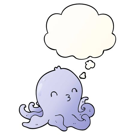 cartoon octopus with thought bubble in smooth gradient style Ilustração