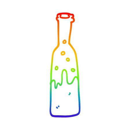 rainbow gradient line drawing of a cartoon bottle of pop