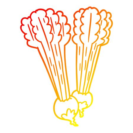 warm gradient line drawing of a Cartoon beetroots 일러스트