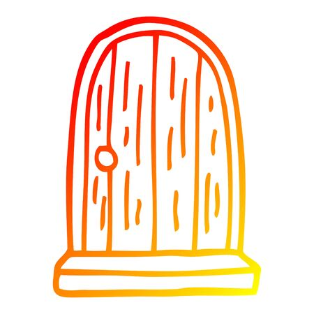 warm gradient line drawing of a cartoon round doorway