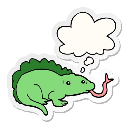 cartoon lizard with thought bubble as a printed sticker