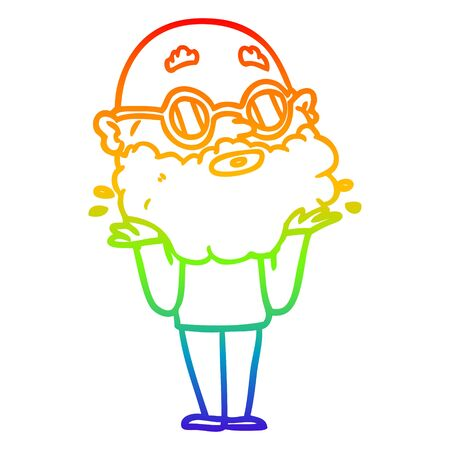 rainbow gradient line drawing of a cartoon curious man with beard and sunglasses