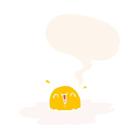 cartoon fried egg with speech bubble in retro style