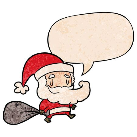 cartoon santa claus carrying sack of presents with speech bubble in retro texture style Illustration