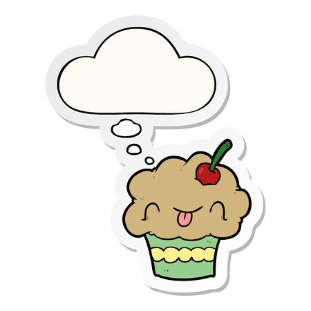cartoon cupcake with thought bubble as a printed sticker