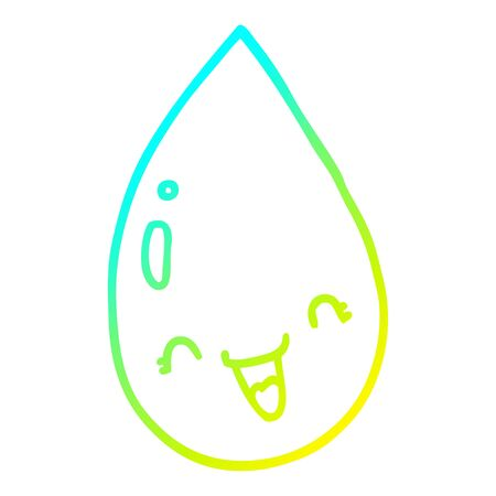 cold gradient line drawing of a cartoon raindrop 向量圖像