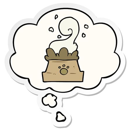 cartoon bowl of dog food with thought bubble as a printed sticker