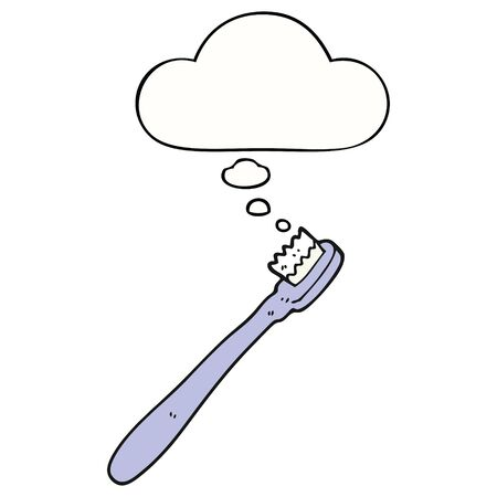 cartoon toothbrush with thought bubble