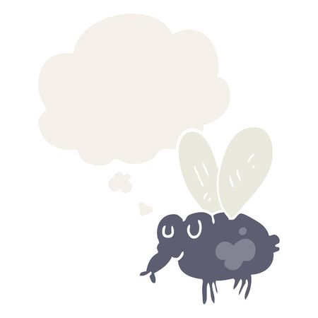 cartoon fly with thought bubble in retro style Ilustracja