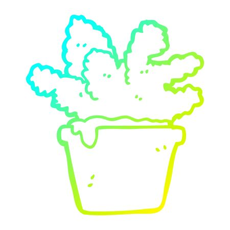 cold gradient line drawing of a cartoon house plant Archivio Fotografico - 129228295