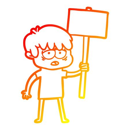 warm gradient line drawing of a cartoon exhausted boy with placard