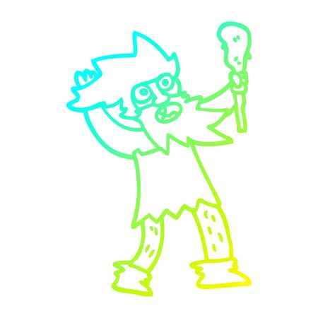 cold gradient line drawing of a cartoon crazy caveman Ilustracja