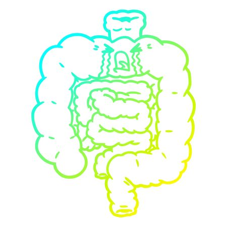 cold gradient line drawing of a cartoon intestines crying Illustration