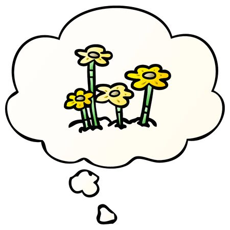 cartoon flowers with thought bubble in smooth gradient style