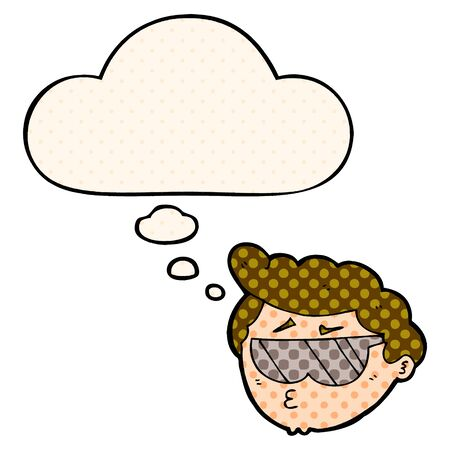 cartoon boy wearing sunglasses with thought bubble in comic book style Illustration