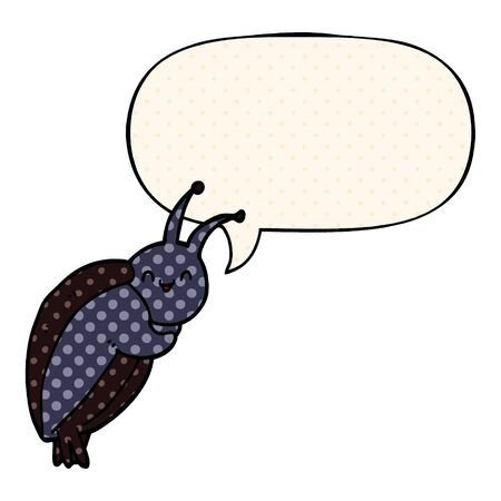 cute cartoon beetle with speech bubble in comic book style Foto de archivo - 129228443