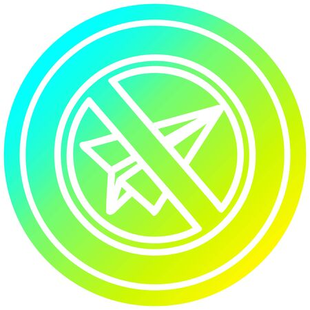 paper plane ban circular icon with cool gradient finish