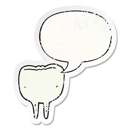 cartoon tooth with speech bubble distressed distressed old sticker