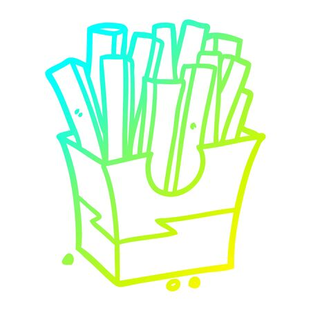 cold gradient line drawing of a junk food fries Illustration