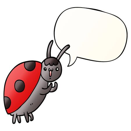 cute cartoon ladybug with speech bubble in smooth gradient style