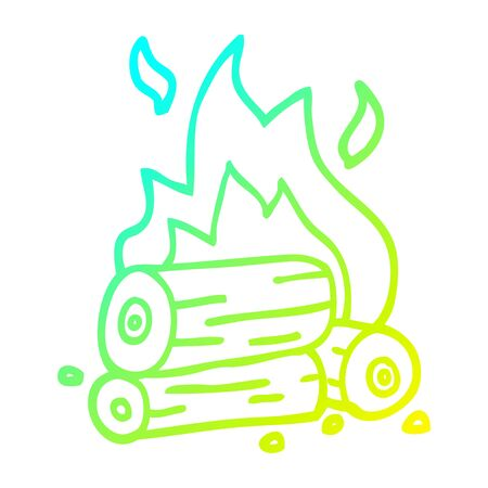 cold gradient line drawing of a cartoon burning logs Çizim