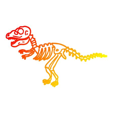 warm gradient line drawing of a cartoon dinosaur bones