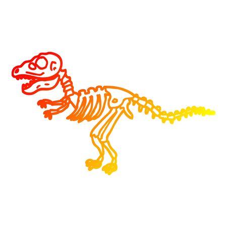 warme gradiëntlijntekening van een cartoon dinosaurusbotten Vector Illustratie