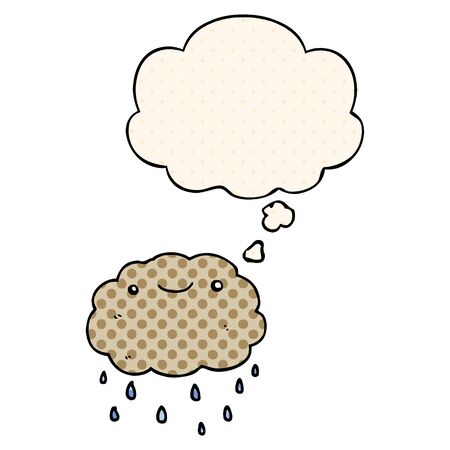 cartoon cloud with thought bubble in comic book style
