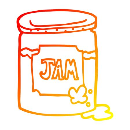 warm gradient line drawing of a cartoon jam pot