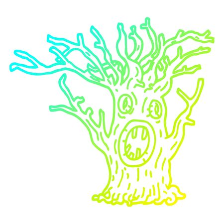 cold gradient line drawing of a cartoon spooky tree