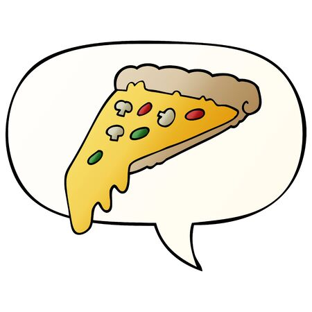 cartoon pizza slice with speech bubble in smooth gradient style