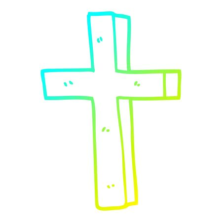 cold gradient line drawing of a cartoon gold cross