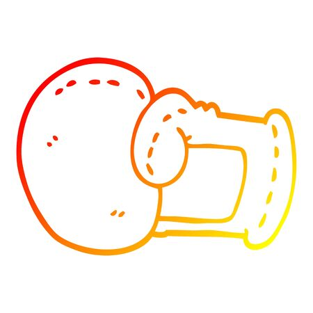 warm gradient line drawing of a cartoon boxing glove