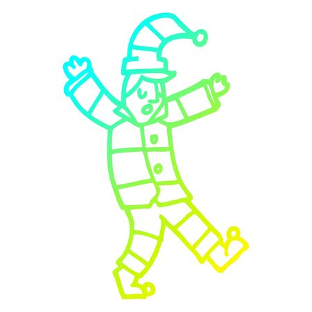 cold gradient line drawing of a cartoon man in traditional pyjamas Stock Illustratie