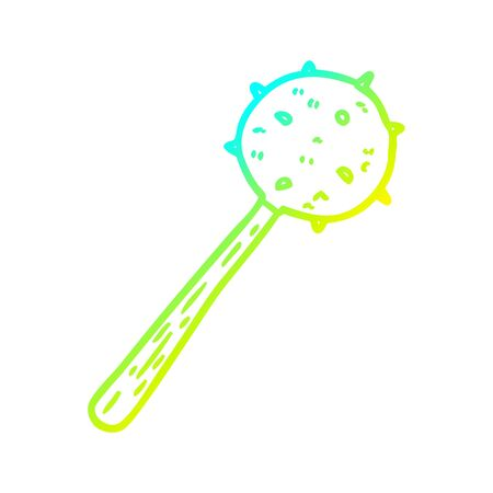 cold gradient line drawing of a medieval mace weapon Illustration